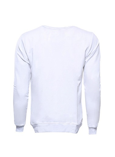 Wessi Erkek Slim Fit Bisiklet Yaka Baskılı Sweatshirt Beyaz